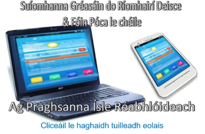 Su�omhanna Gr�as�in do R�omhair� Deisce & F�in P�ca le ch�ile Ag Praghsanna �sle R�abhl�ideach / Combined Desktop and Mobile website from The Webbery, Web Design, Ireland